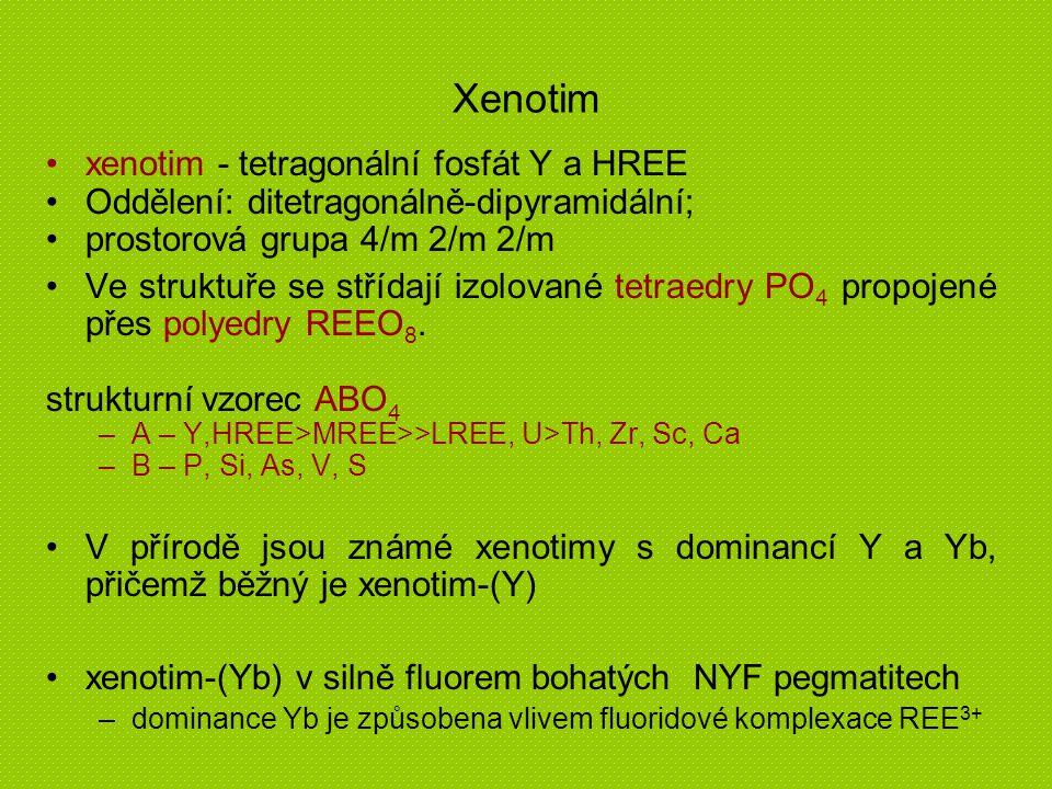 Xenotim xenotim - tetragonální fosfát Y a HREE Oddělení: ditetragonálně-dipyramidální; prostorová grupa 4/m 2/m 2/m Ve struktuře se střídají izolované