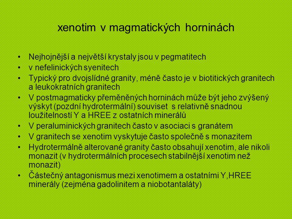 xenotim v magmatických horninách Nejhojnější a největší krystaly jsou v pegmatitech v nefelinických syenitech Typický pro dvojslídné granity, méně čas