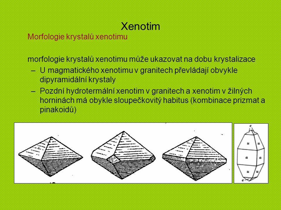 Xenotim Morfologie krystalů xenotimu morfologie krystalů xenotimu může ukazovat na dobu krystalizace –U magmatického xenotimu v granitech převládají o