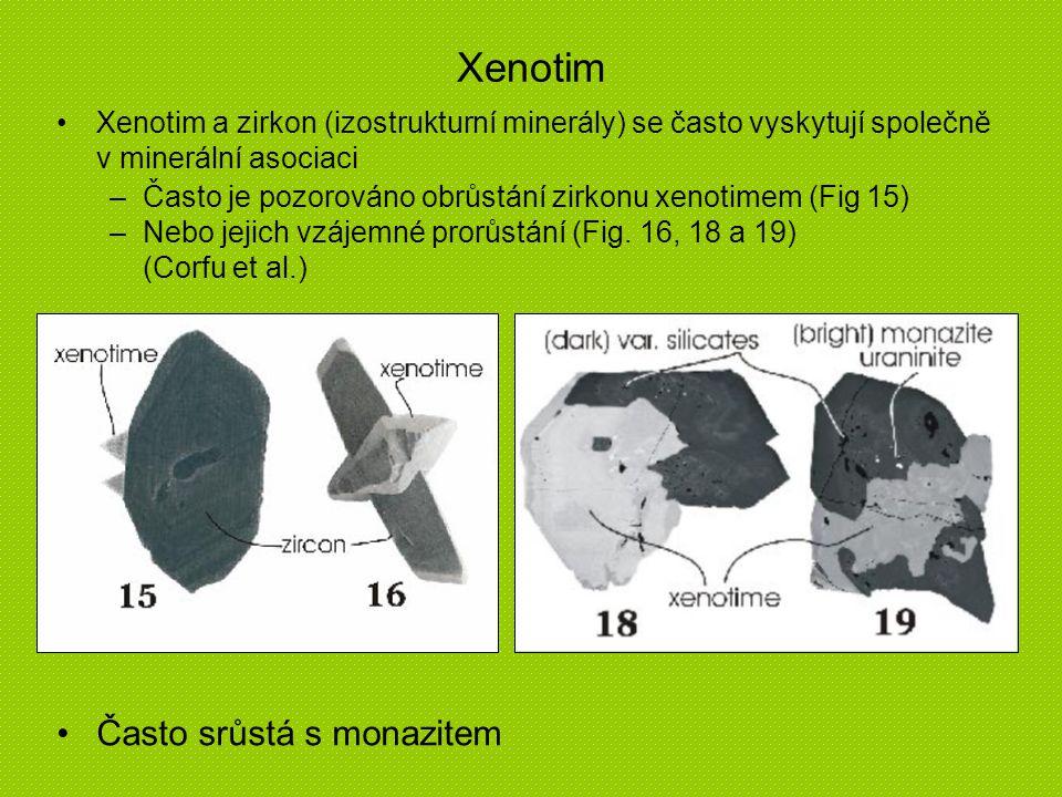 Xenotim Xenotim a zirkon (izostrukturní minerály) se často vyskytují společně v minerální asociaci –Často je pozorováno obrůstání zirkonu xenotimem (F