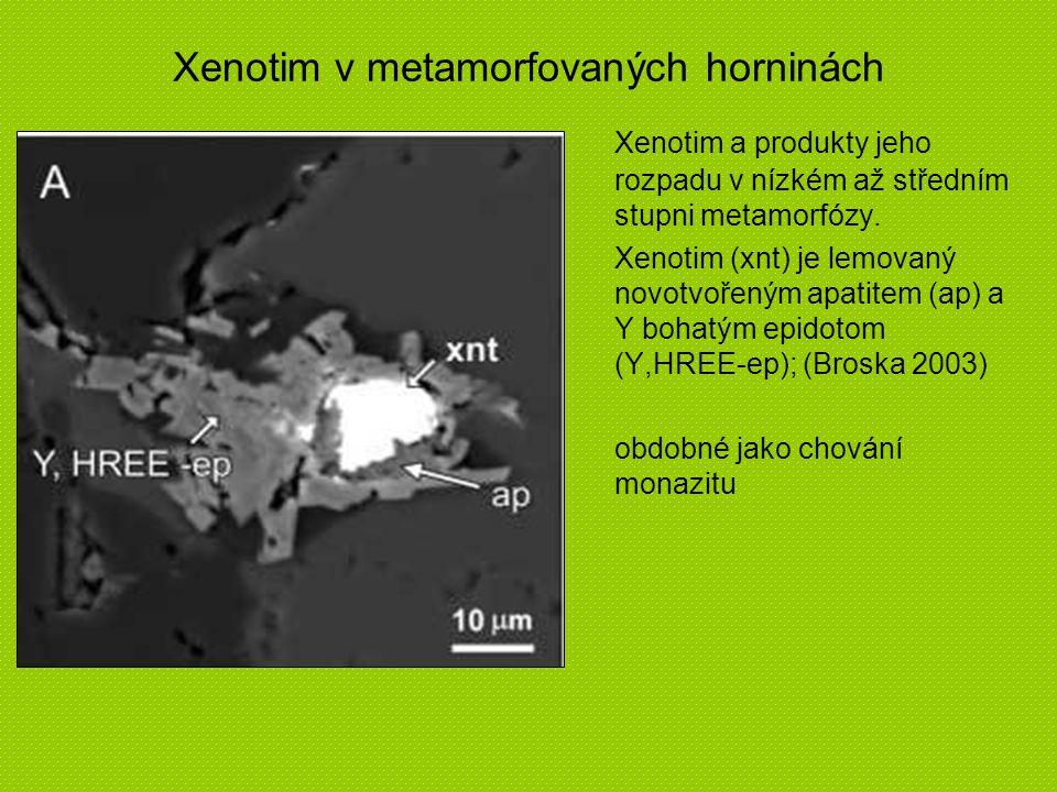 Xenotim a produkty jeho rozpadu v nízkém až středním stupni metamorfózy. Xenotim (xnt) je lemovaný novotvořeným apatitem (ap) a Y bohatým epidotom (Y,