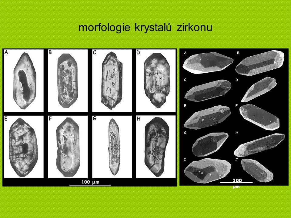morfologie krystalů zirkonu 100 µm