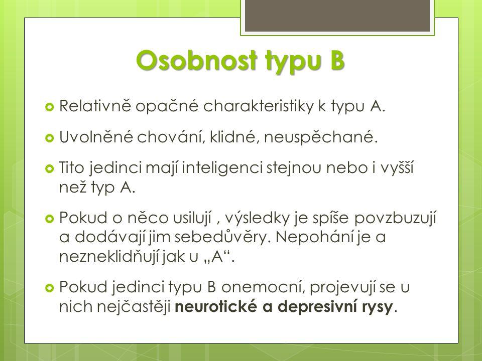 Osobnost typu B  Relativně opačné charakteristiky k typu A.  Uvolněné chování, klidné, neuspěchané.  Tito jedinci mají inteligenci stejnou nebo i v