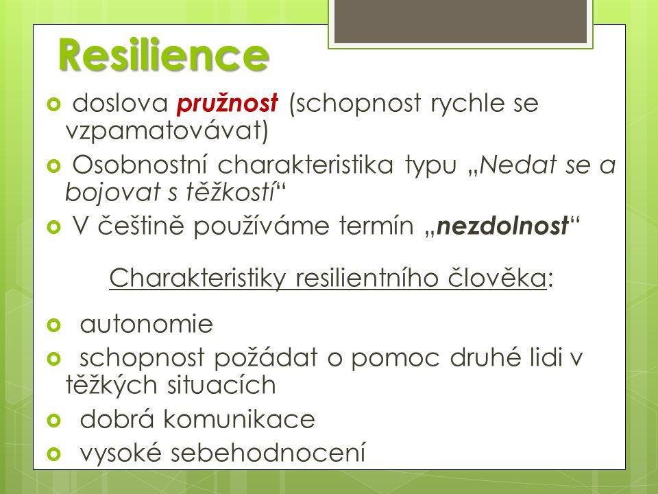"""Resilience  doslova pružnost (schopnost rychle se vzpamatovávat)  Osobnostní charakteristika typu """"Nedat se a bojovat s těžkostí""""  V češtině použív"""