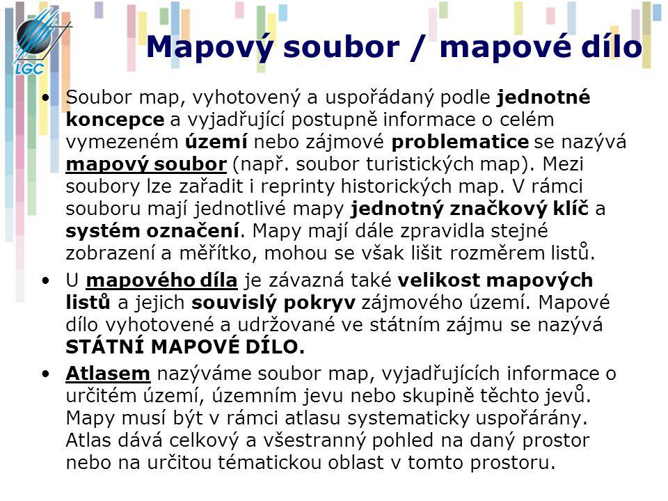 Mapový soubor / mapové dílo Soubor map, vyhotovený a uspořádaný podle jednotné koncepce a vyjadřující postupně informace o celém vymezeném území nebo zájmové problematice se nazývá mapový soubor (např.
