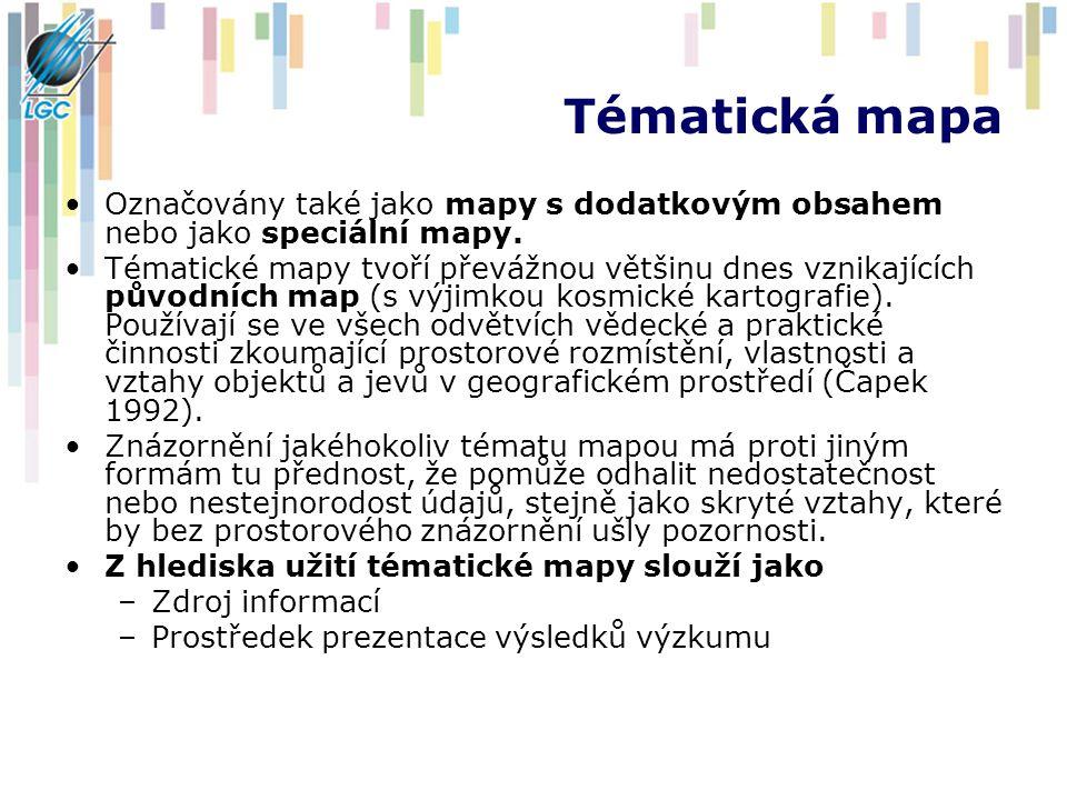 Tématická mapa Označovány také jako mapy s dodatkovým obsahem nebo jako speciální mapy.