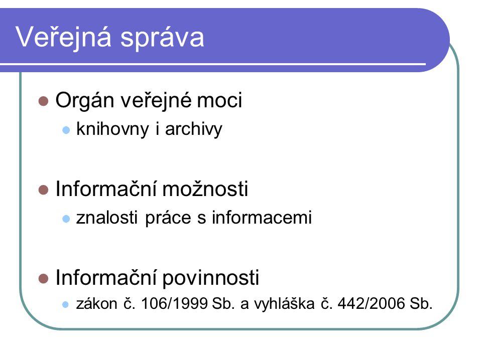 Informace o veřejné správě Zdroje dat klasické elektronické Životní cyklus informací aktuality dokumenty archiválie