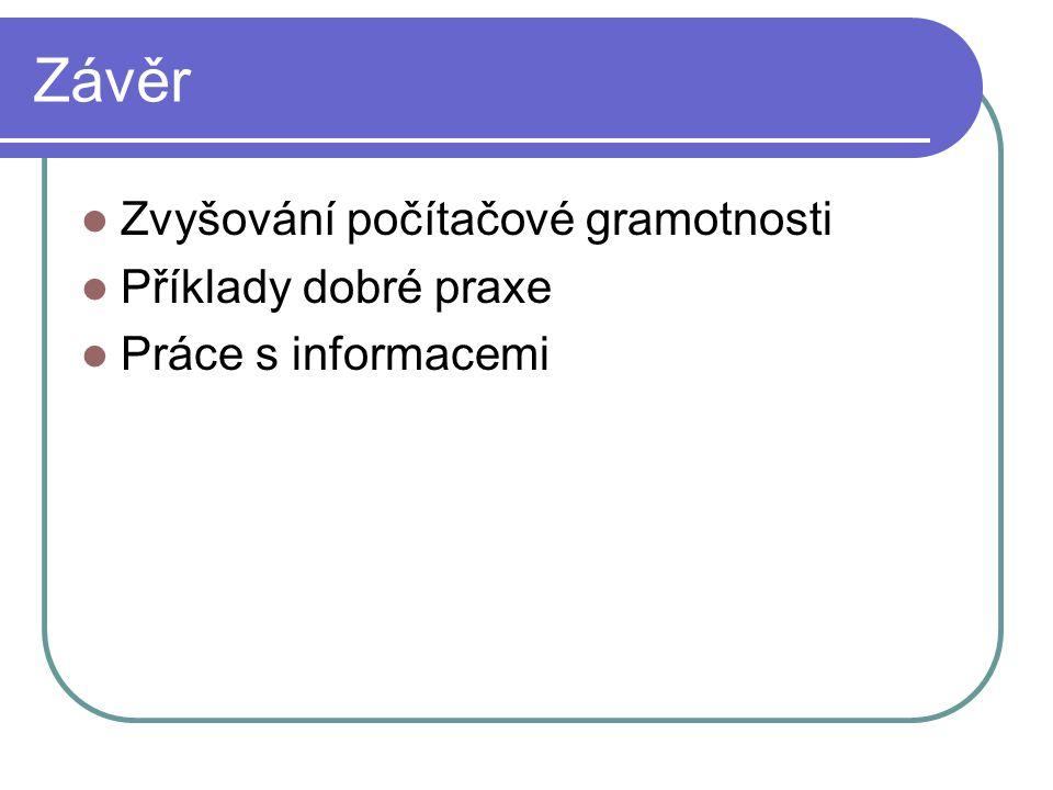 Závěr Zvyšování počítačové gramotnosti Příklady dobré praxe Práce s informacemi