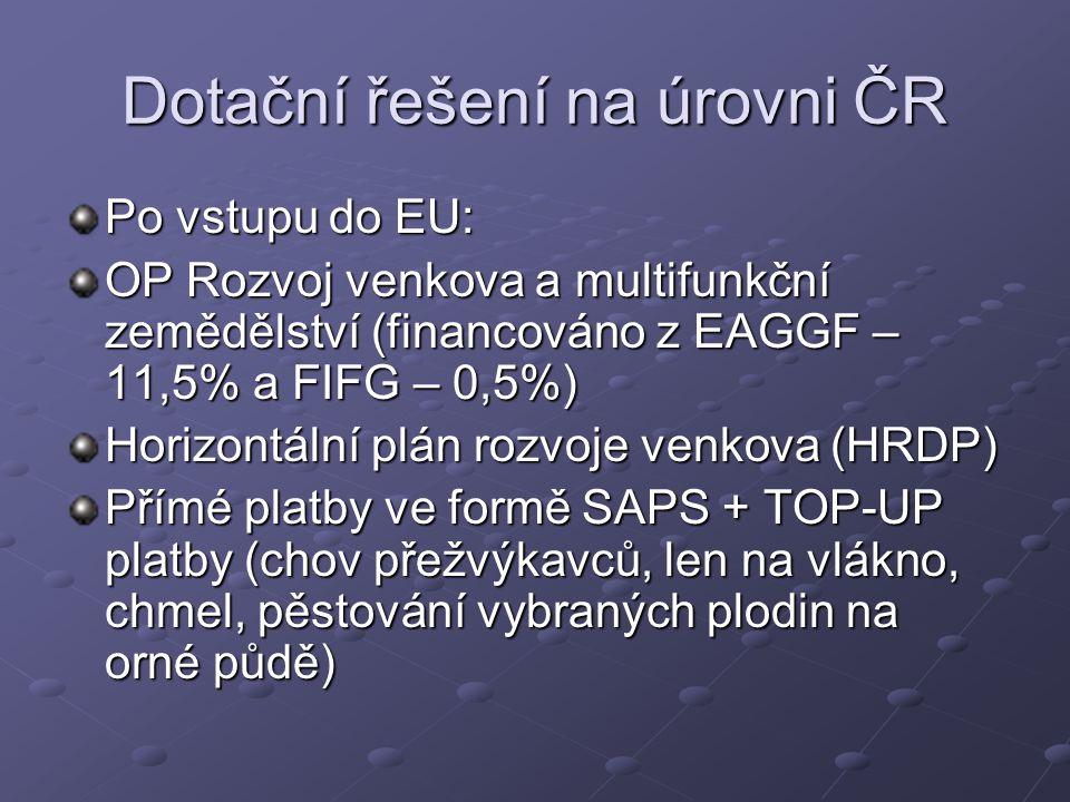 Dotační řešení na úrovni ČR Po vstupu do EU: OP Rozvoj venkova a multifunkční zemědělství (financováno z EAGGF – 11,5% a FIFG – 0,5%) Horizontální plán rozvoje venkova (HRDP) Přímé platby ve formě SAPS + TOP-UP platby (chov přežvýkavců, len na vlákno, chmel, pěstování vybraných plodin na orné půdě)