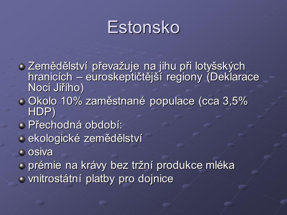 Estonsko Zemědělství převažuje na jihu při lotyšských hranicích – euroskeptičtější regiony (Deklarace Noci Jiřího) Okolo 10% zaměstnané populace (cca 3,5% HDP) Přechodná období: ekologické zemědělství osiva prémie na krávy bez tržní produkce mléka vnitrostátní platby pro dojnice