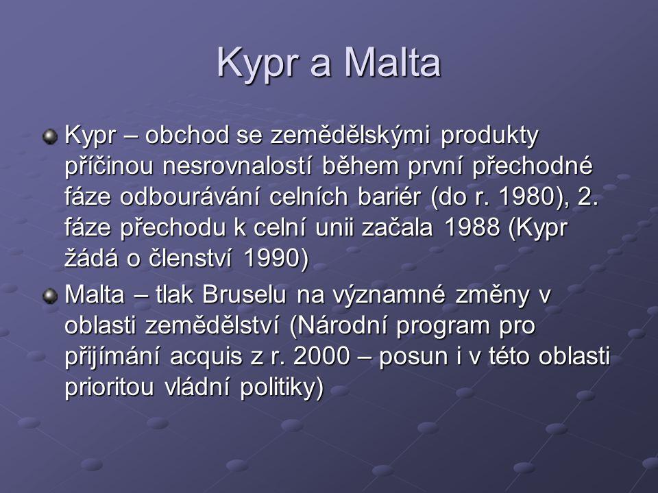 Kypr a Malta Kypr – obchod se zemědělskými produkty příčinou nesrovnalostí během první přechodné fáze odbourávání celních bariér (do r.
