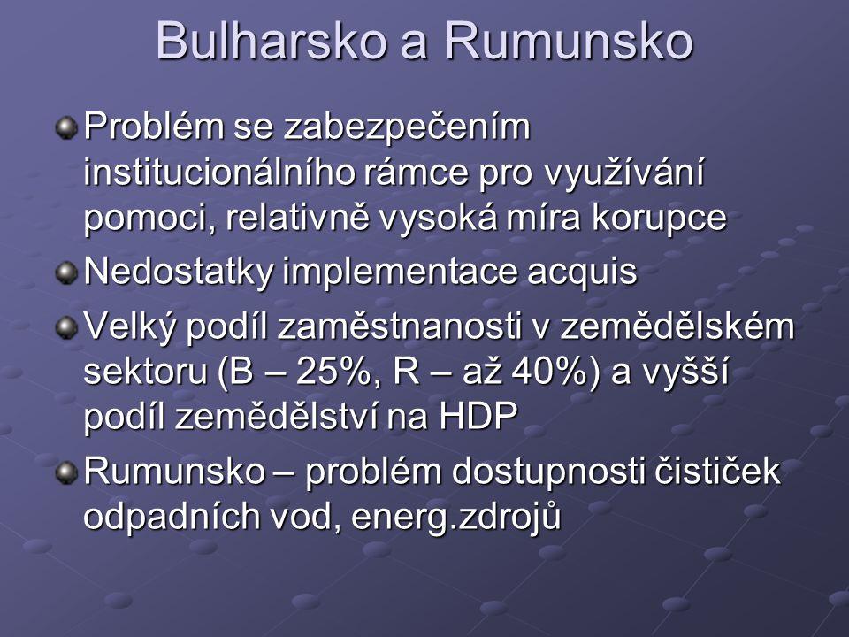 Bulharsko a Rumunsko Problém se zabezpečením institucionálního rámce pro využívání pomoci, relativně vysoká míra korupce Nedostatky implementace acquis Velký podíl zaměstnanosti v zemědělském sektoru (B – 25%, R – až 40%) a vyšší podíl zemědělství na HDP Rumunsko – problém dostupnosti čističek odpadních vod, energ.zdrojů