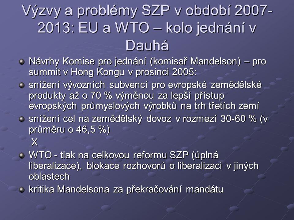 Výzvy a problémy SZP v období 2007- 2013: EU a WTO – kolo jednání v Dauhá Návrhy Komise pro jednání (komisař Mandelson) – pro summit v Hong Kongu v prosinci 2005: snížení vývozních subvencí pro evropské zemědělské produkty až o 70 % výměnou za lepší přístup evropských průmyslových výrobků na trh třetích zemí snížení cel na zemědělský dovoz v rozmezí 30-60 % (v průměru o 46,5 %) X WTO - tlak na celkovou reformu SZP (úplná liberalizace), blokace rozhovorů o liberalizaci v jiných oblastech kritika Mandelsona za překračování mandátu