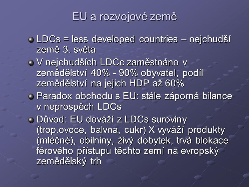 EU a rozvojové země LDCs = less developed countries – nejchudší země 3.
