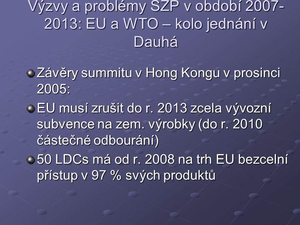 Výzvy a problémy SZP v období 2007- 2013: EU a WTO – kolo jednání v Dauhá Závěry summitu v Hong Kongu v prosinci 2005: EU musí zrušit do r.