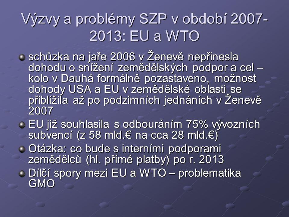 Výzvy a problémy SZP v období 2007- 2013: EU a WTO schůzka na jaře 2006 v Ženevě nepřinesla dohodu o snížení zemědělských podpor a cel – kolo v Dauhá formálně pozastaveno, možnost dohody USA a EU v zemědělské oblasti se přiblížila až po podzimních jednáních v Ženevě 2007 EU již souhlasila s odbouráním 75% vývozních subvencí (z 58 mld.€ na cca 28 mld.€) Otázka: co bude s interními podporami zemědělců (hl.