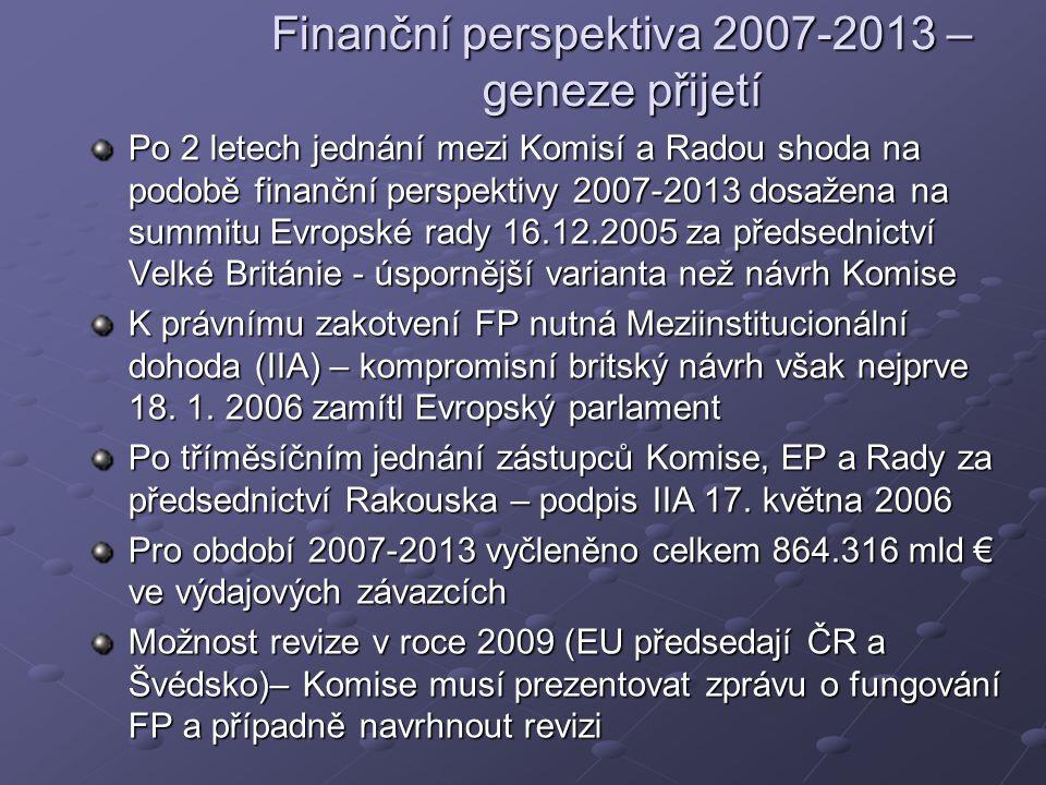 Finanční perspektiva 2007-2013 – geneze přijetí Po 2 letech jednání mezi Komisí a Radou shoda na podobě finanční perspektivy 2007-2013 dosažena na summitu Evropské rady 16.12.2005 za předsednictví Velké Británie - úspornější varianta než návrh Komise K právnímu zakotvení FP nutná Meziinstitucionální dohoda (IIA) – kompromisní britský návrh však nejprve 18.