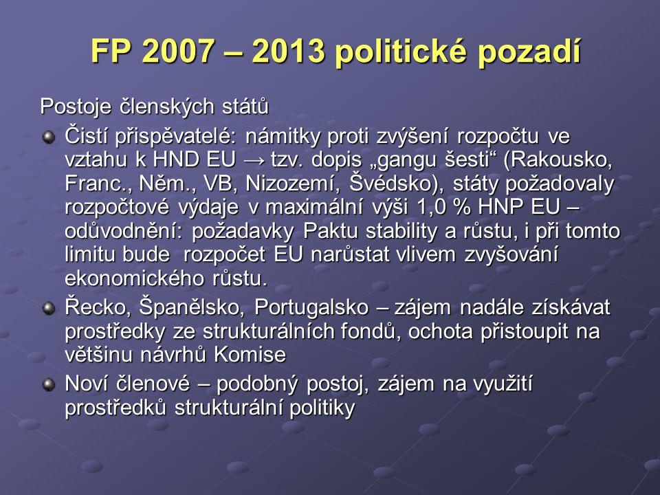 FP 2007 – 2013 politické pozadí Postoje členských států Čistí přispěvatelé: námitky proti zvýšení rozpočtu ve vztahu k HND EU → tzv.