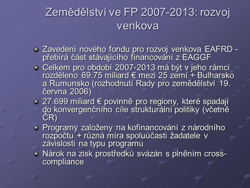 Zemědělství ve FP 2007-2013: rozvoj venkova Zavedení nového fondu pro rozvoj venkova EAFRD - přebírá část stávajícího financování z EAGGF Celkem pro období 2007-2013 má být v jeho rámci rozděleno 69.75 miliard € mezi 25 zemí + Bulharsko a Rumunsko (rozhodnutí Rady pro zemědělství 19.