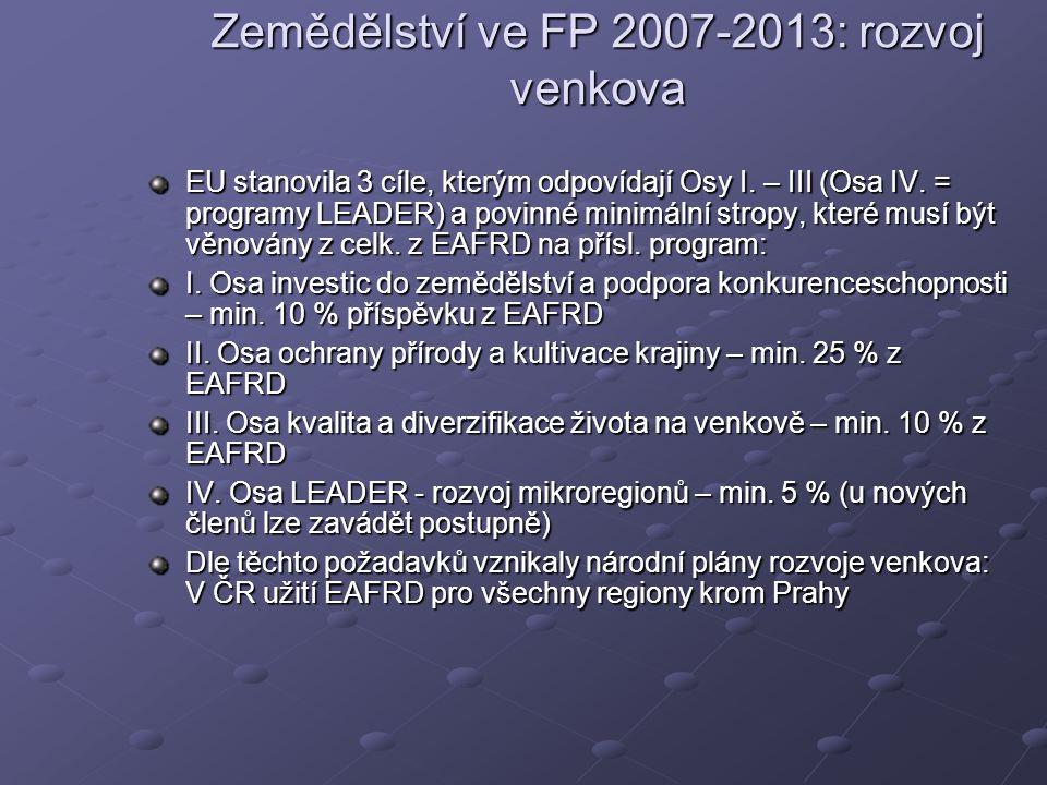 Zemědělství ve FP 2007-2013: rozvoj venkova EU stanovila 3 cíle, kterým odpovídají Osy I.