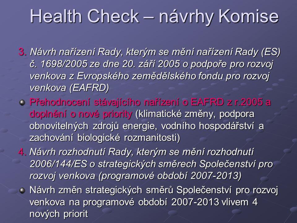 Health Check – návrhy Komise 3. Návrh nařízení Rady, kterým se mění nařízení Rady (ES) č.