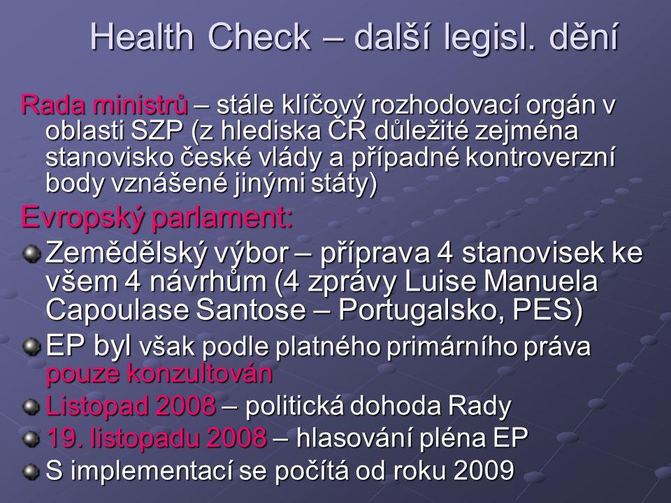 Health Check – další legisl.