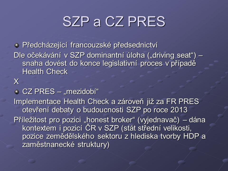 """SZP a CZ PRES Předcházející francouzské předsednictví Dle očekávání v SZP dominantní úloha (""""driving seat ) – snaha dovést do konce legislativní proces v případě Health Check X CZ PRES – """"mezidobí Implementace Health Check a zároveň již za FR PRES otevření debaty o budoucnosti SZP po roce 2013 Příležitost pro pozici """"honest broker (vyjednavač) – dána kontextem i pozicí ČR v SZP (stát střední velikosti, pozice zemědělského sektoru z hlediska tvorby HDP a zaměstnanecké struktury)"""