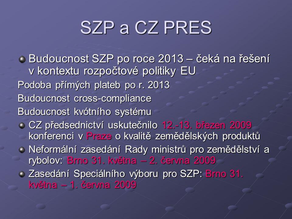 SZP a CZ PRES Budoucnost SZP po roce 2013 – čeká na řešení v kontextu rozpočtové politiky EU Podoba přímých plateb po r.