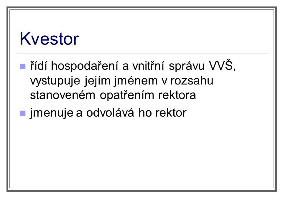 Kvestor řídí hospodaření a vnitřní správu VVŠ, vystupuje jejím jménem v rozsahu stanoveném opatřením rektora jmenuje a odvolává ho rektor