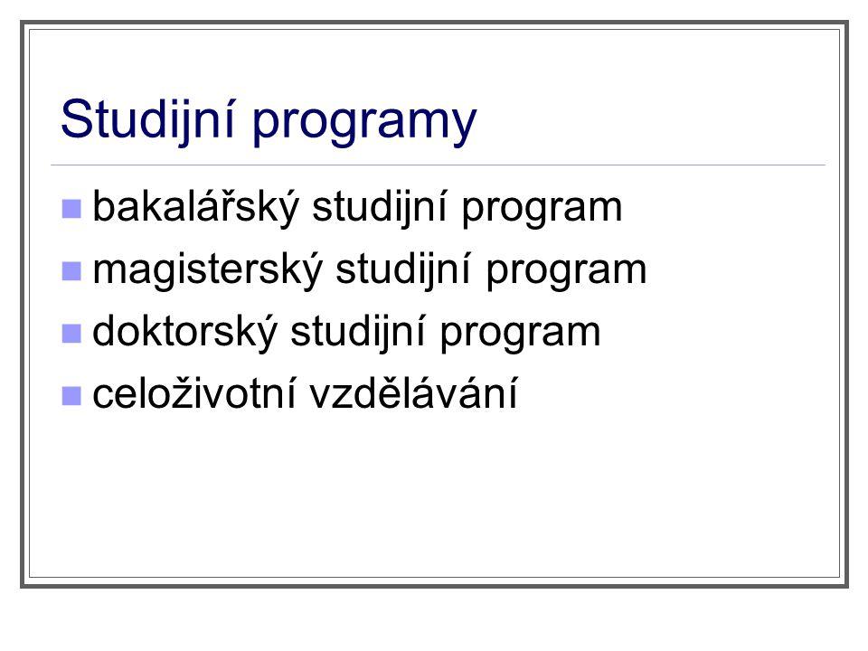 Studijní programy bakalářský studijní program magisterský studijní program doktorský studijní program celoživotní vzdělávání