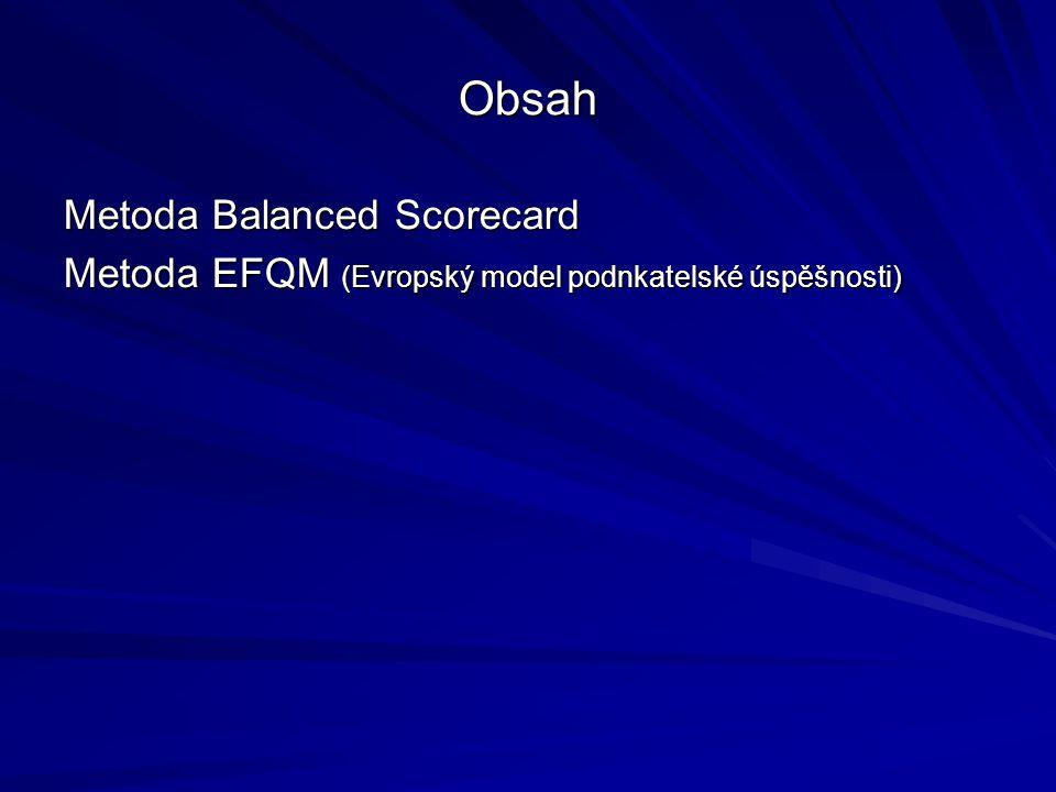 Obsah Metoda Balanced Scorecard Metoda EFQM (Evropský model podnkatelské úspěšnosti)
