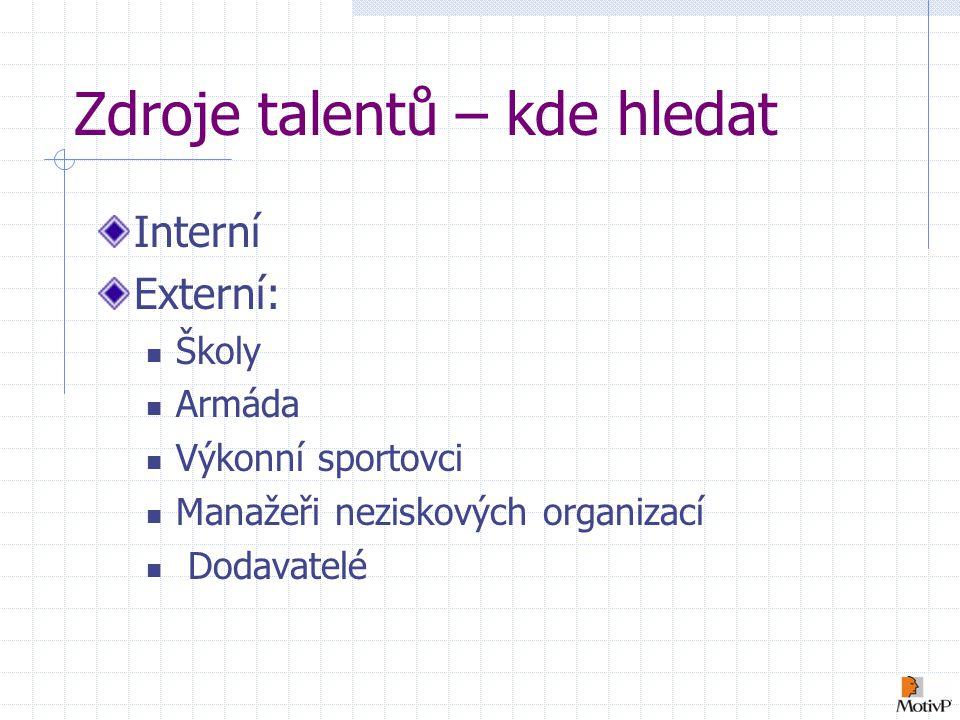 Zdroje talentů – kde hledat Interní Externí: Školy Armáda Výkonní sportovci Manažeři neziskových organizací Dodavatelé