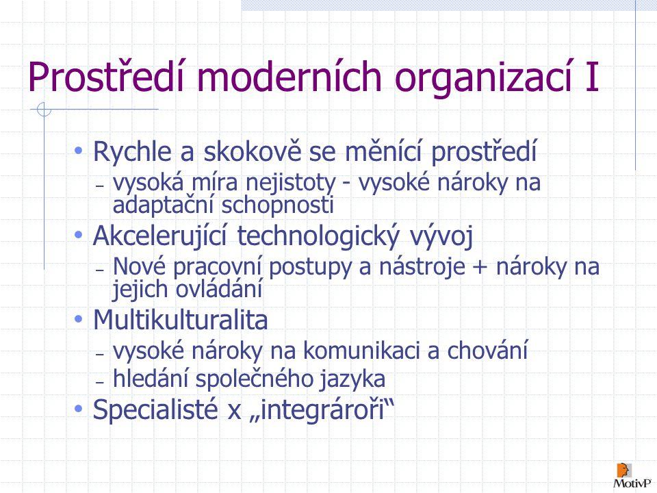 """Prostředí moderních organizací I Rychle a skokově se měnící prostředí – vysoká míra nejistoty - vysoké nároky na adaptační schopnosti Akcelerující technologický vývoj – Nové pracovní postupy a nástroje + nároky na jejich ovládání Multikulturalita – vysoké nároky na komunikaci a chování – hledání společného jazyka Specialisté x """"integrároři"""