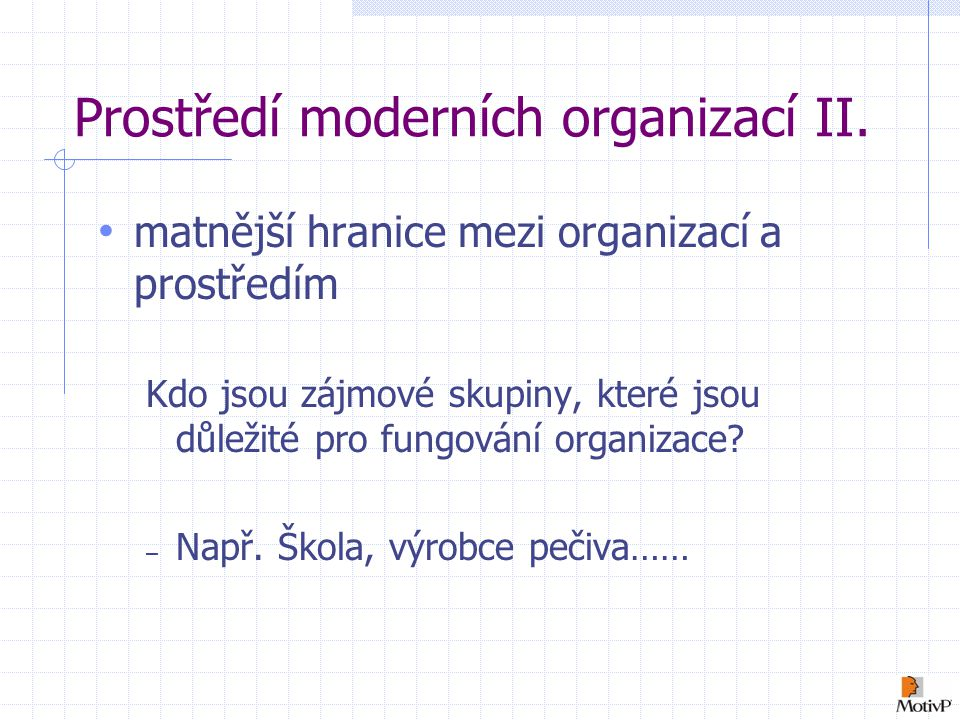 Prostředí moderních organizací II.