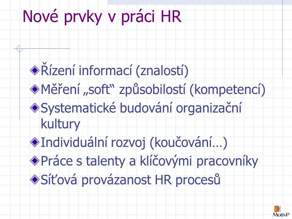 """Nové prvky v práci HR Řízení informací (znalostí) Měření """"soft způsobilostí (kompetencí) Systematické budování organizační kultury Individuální rozvoj (koučování…) Práce s talenty a klíčovými pracovníky Síťová provázanost HR procesů"""
