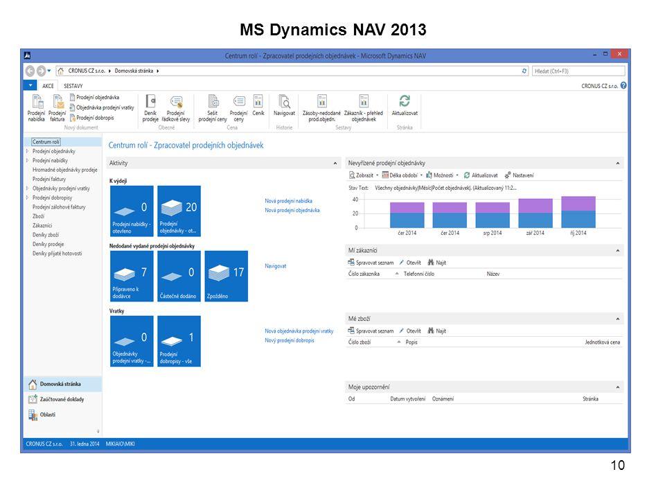 10 MS Dynamics NAV 2013