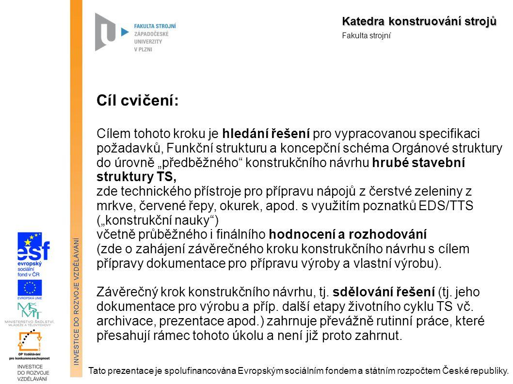 Katedra konstruování strojů Fakulta strojní Tato prezentace je spolufinancována Evropským sociálním fondem a státním rozpočtem České republiky.