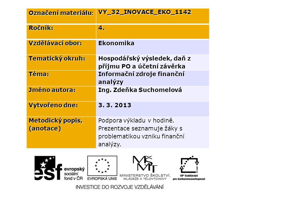 Označení materiálu : VY_32_INOVACE_EKO_1142Ročník:4. Vzdělávací obor: Ekonomika Tematický okruh: Hospodářský výsledek, daň z příjmu PO a účetní závěrk
