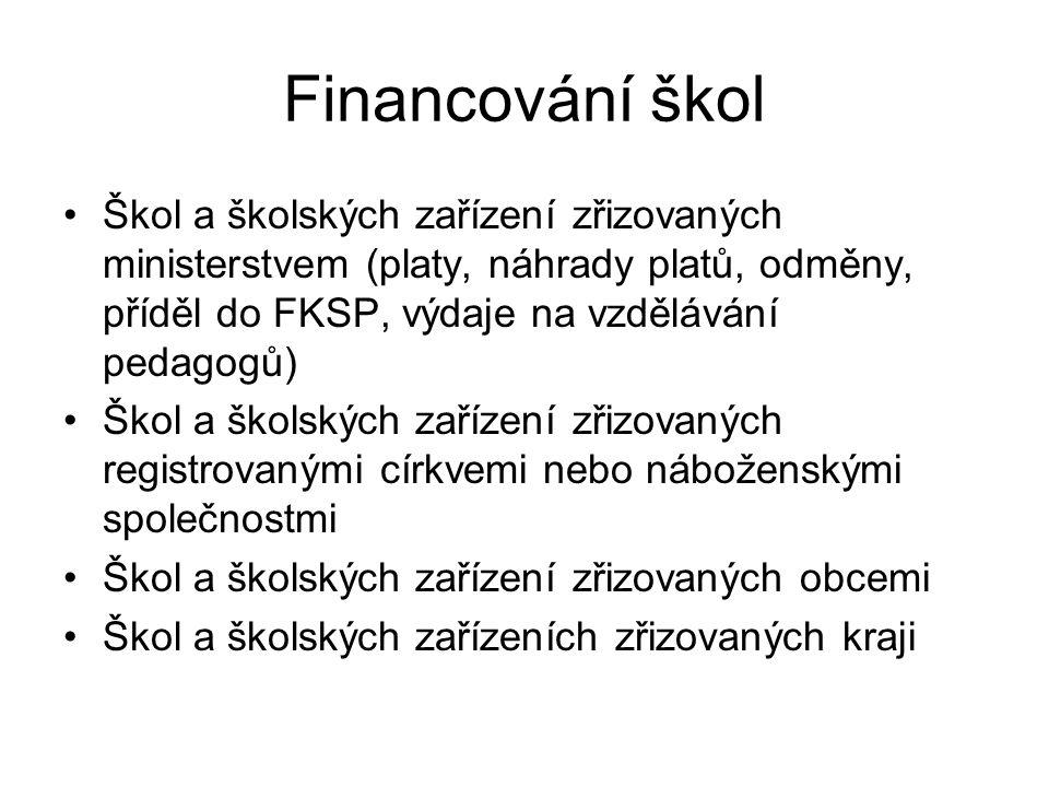 Financování škol Škol a školských zařízení zřizovaných ministerstvem (platy, náhrady platů, odměny, příděl do FKSP, výdaje na vzdělávání pedagogů) Ško
