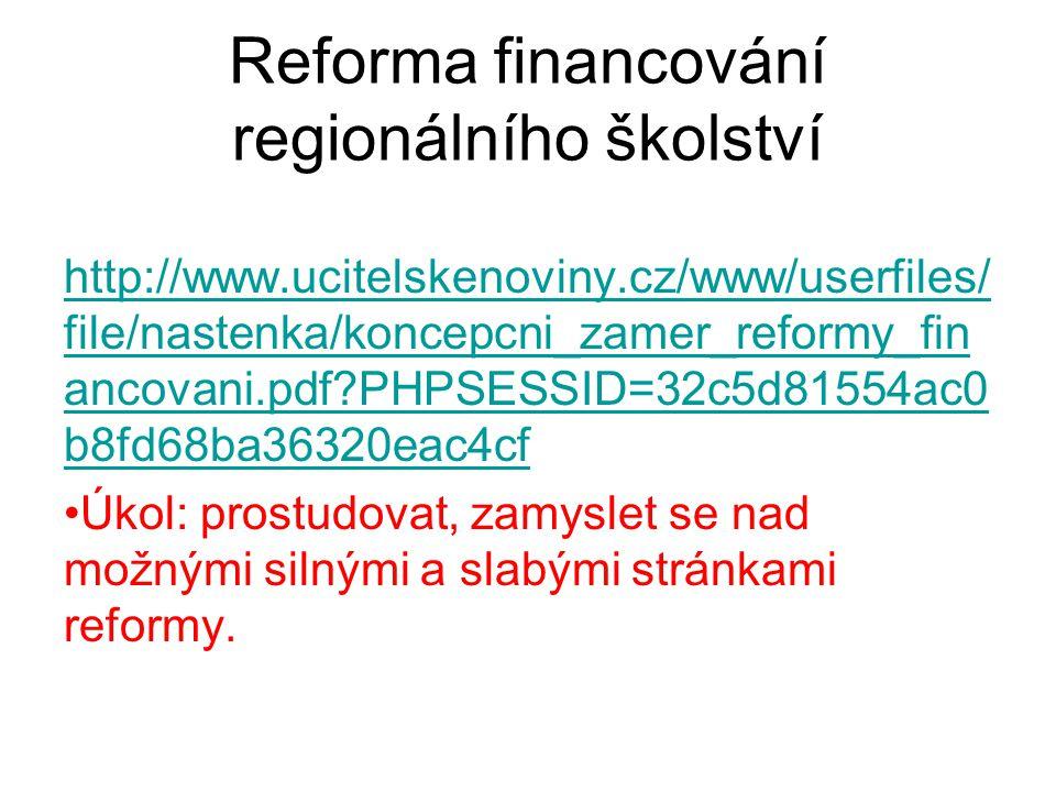 Reforma financování regionálního školství http://www.ucitelskenoviny.cz/www/userfiles/ file/nastenka/koncepcni_zamer_reformy_fin ancovani.pdf?PHPSESSI