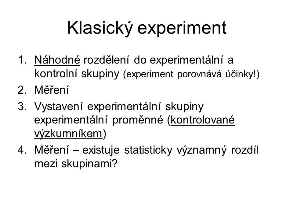 Klasický experiment 1.Náhodné rozdělení do experimentální a kontrolní skupiny (experiment porovnává účinky!) 2.Měření 3.Vystavení experimentální skupiny experimentální proměnné (kontrolované výzkumníkem) 4.Měření – existuje statisticky významný rozdíl mezi skupinami?