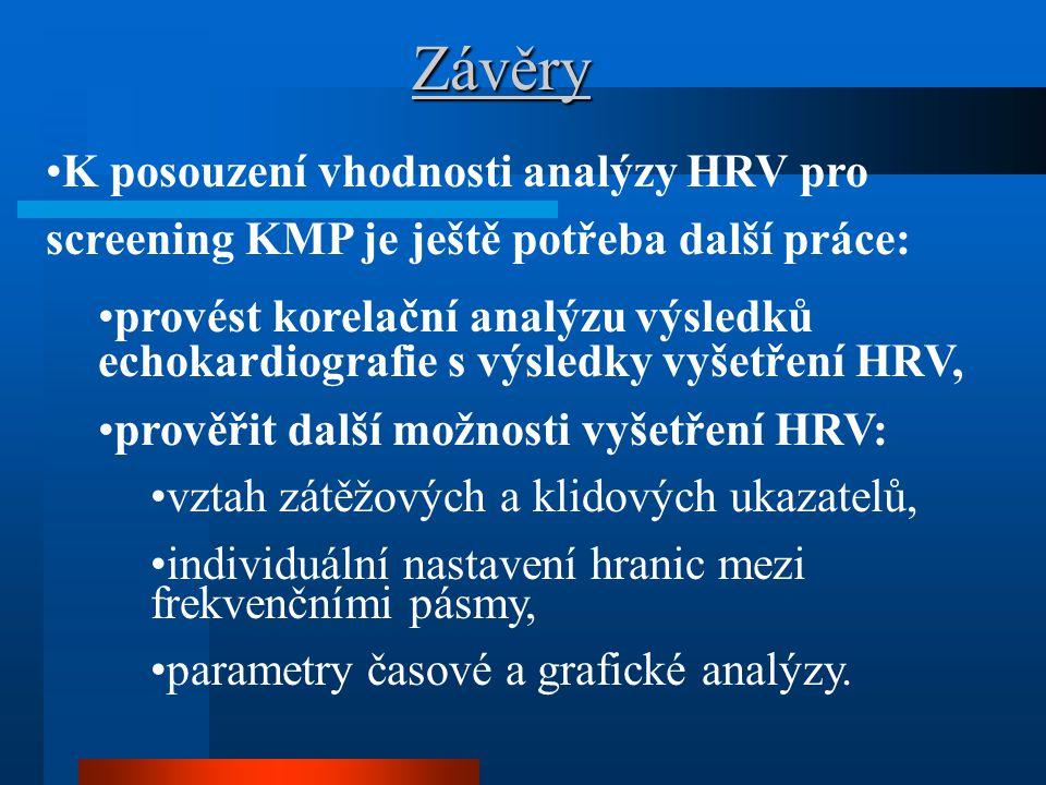 Závěry K posouzení vhodnosti analýzy HRV pro screening KMP je ještě potřeba další práce: provést korelační analýzu výsledků echokardiografie s výsledk