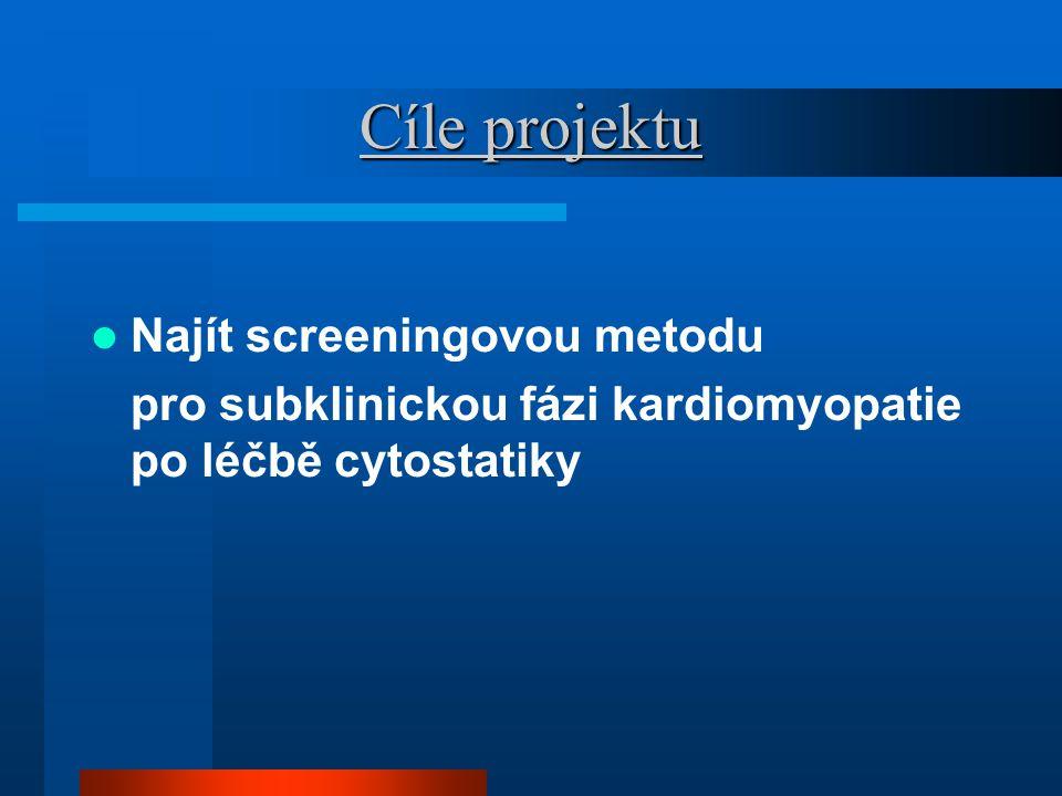 Cíle projektu Najít screeningovou metodu pro subklinickou fázi kardiomyopatie po léčbě cytostatiky