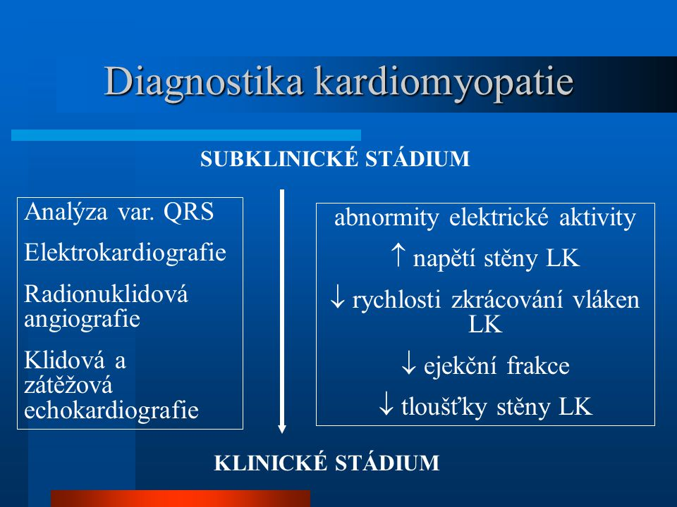 Diagnostika kardiomyopatie SUBKLINICKÉ STÁDIUM KLINICKÉ STÁDIUM Analýza var. QRS Elektrokardiografie Radionuklidová angiografie Klidová a zátěžová ech