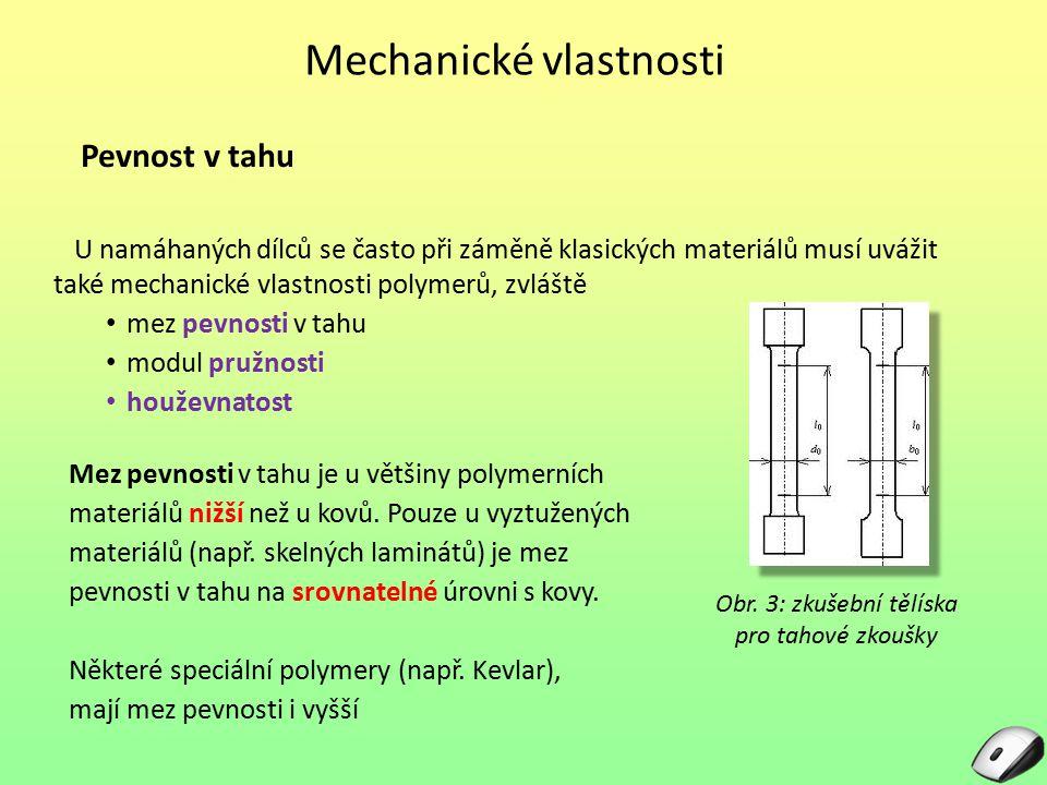 Mechanické vlastnosti Pevnost v tahu U namáhaných dílců se často při záměně klasických materiálů musí uvážit také mechanické vlastnosti polymerů, zvlá