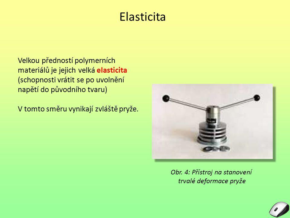 Elasticita Velkou předností polymerních materiálů je jejich velká elasticita (schopnosti vrátit se po uvolnění napětí do původního tvaru) V tomto směr