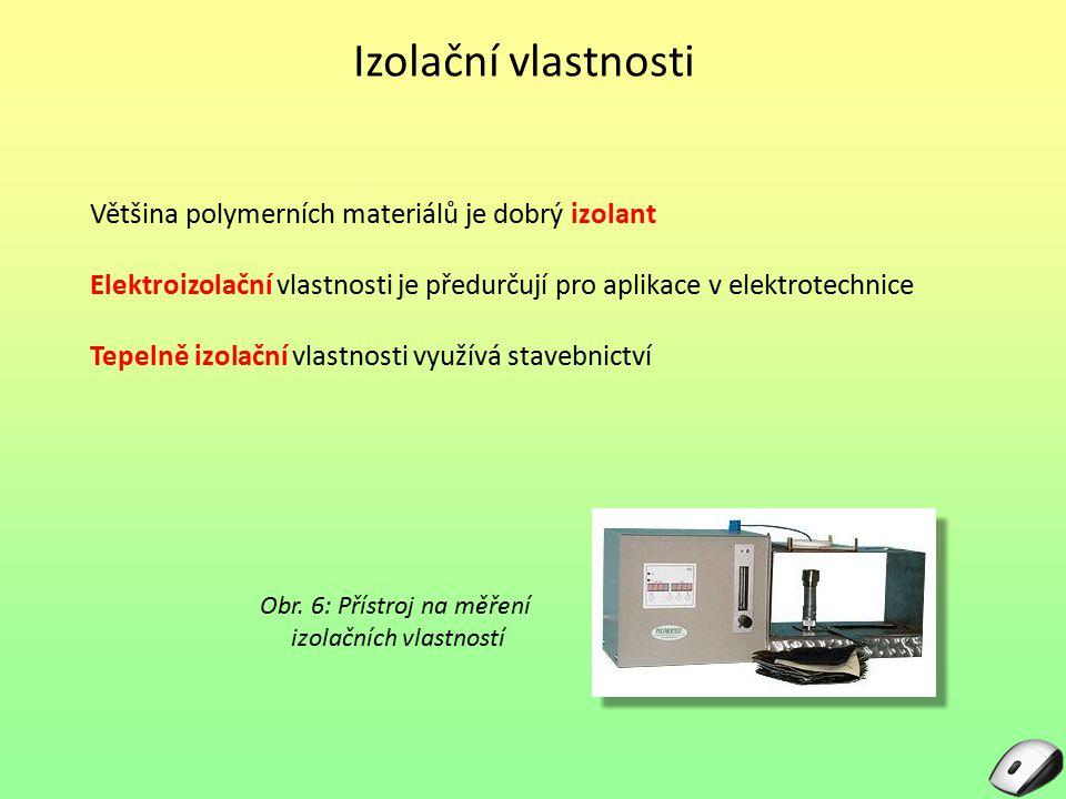 Izolační vlastnosti Většina polymerních materiálů je dobrý izolant Elektroizolační vlastnosti je předurčují pro aplikace v elektrotechnice Tepelně izo