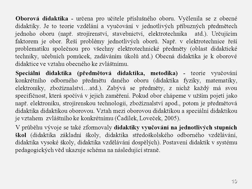 10 Oborová didaktika - určena pro učitele příslušného oboru. Vyčlenila se z obecné didaktiky. Je to teorie vzdělání a vyučování v jednotlivých příbuzn