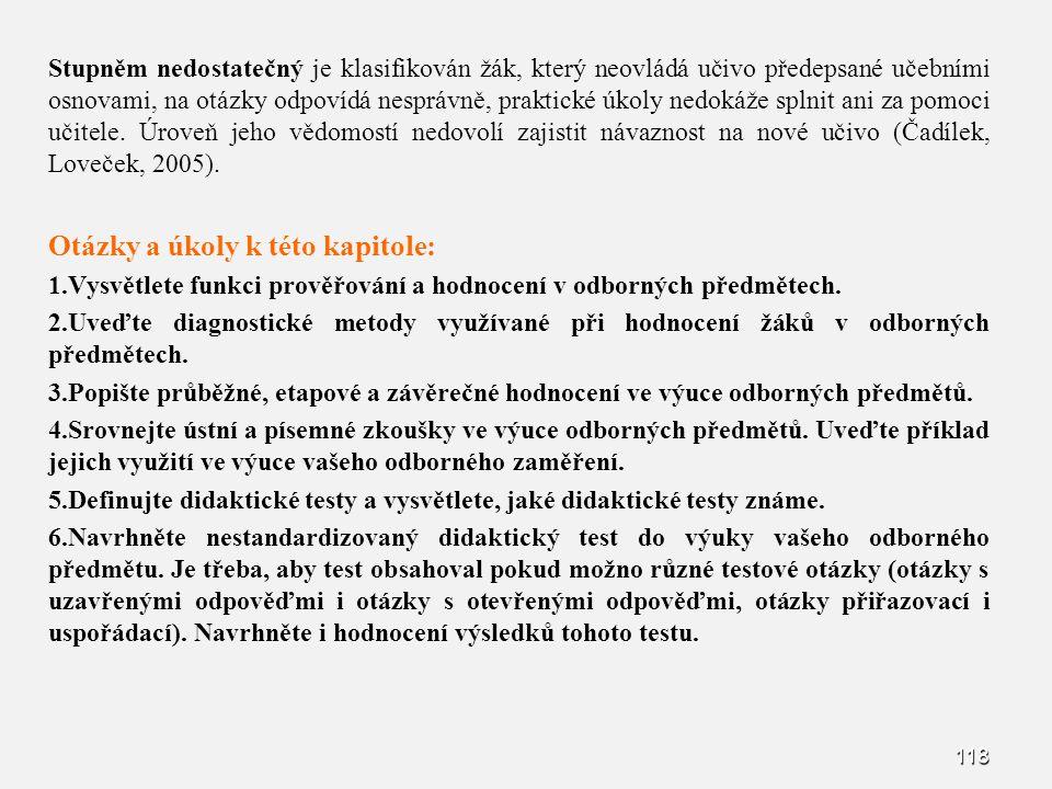 118 Stupněm nedostatečný je klasifikován žák, který neovládá učivo předepsané učebními osnovami, na otázky odpovídá nesprávně, praktické úkoly nedokáž