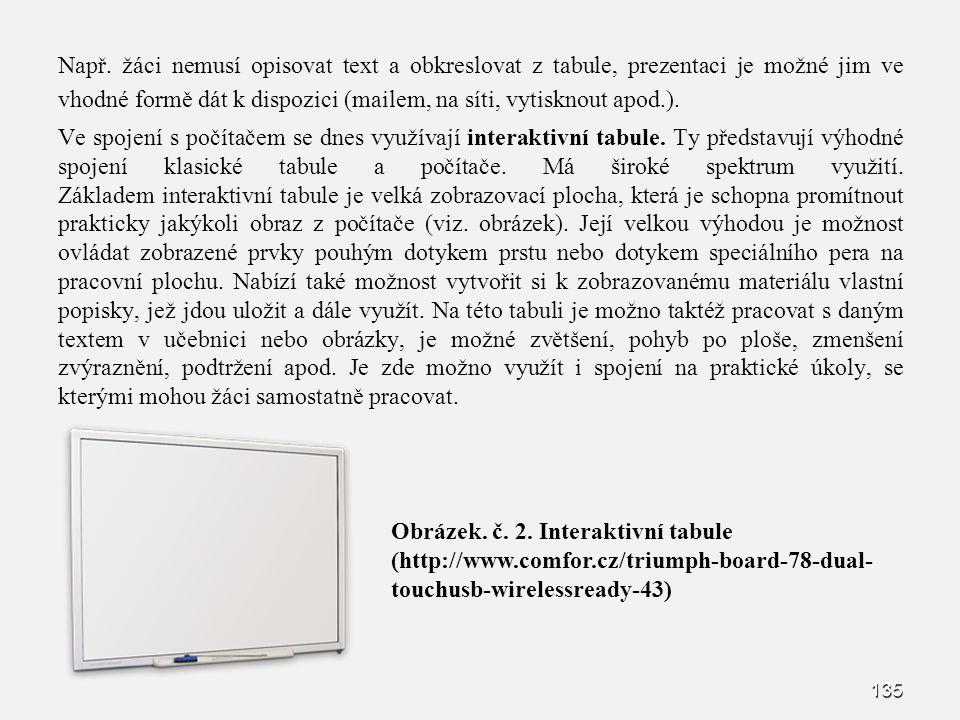 Např. žáci nemusí opisovat text a obkreslovat z tabule, prezentaci je možné jim ve vhodné formě dát k dispozici (mailem, na síti, vytisknout apod.). V